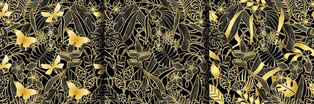 Набор тропических золотых бесшовные шаблоны