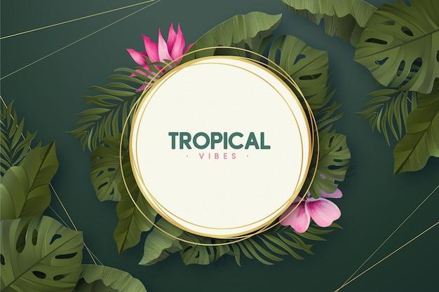Cornice dorata tropicale con foglie estive realistiche