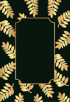 Тропические золотые листья и рамка на черном фоне