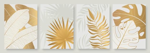 ソーシャルメディアの物語のために設定された熱帯の黄金の葉豪華な抽象的な金のヤシの木の葉。