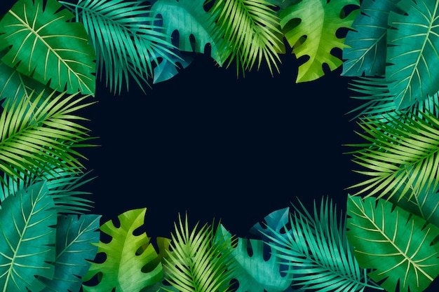 Tropical gradient green leaves copy space