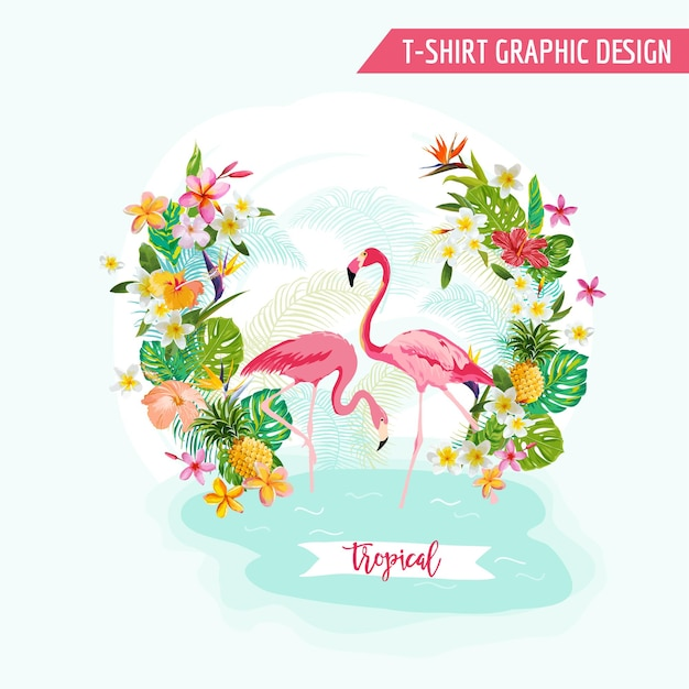 Tropical graphic design - flamingo and tropical flowers - for t-shirt, fashion, prints - in