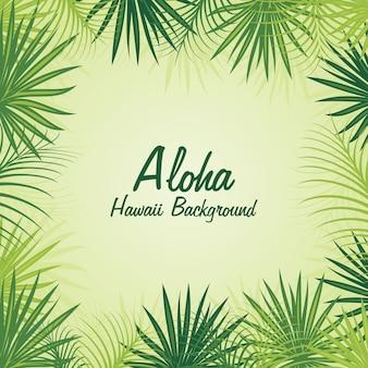 Тропический зеленый алоха цветочная рамка стиль фона