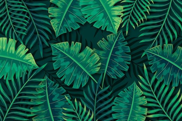 열 대 녹색 잎 배경