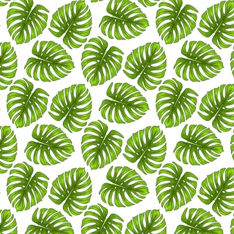 Tropical green leaves seamless pattern on white background