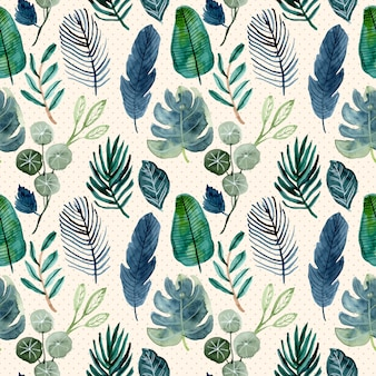 Tropical green leaves watercolor seamless pattern