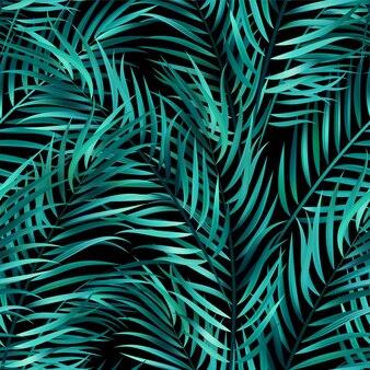 열 대 녹색 종려 잎, 정글 잎 원활한 벡터 꽃 패턴 배경