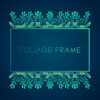 Tropical greenery foliage frame background. frame background with tropical foliage ornament