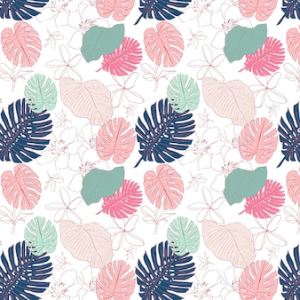 Tropical hand painted seamless pattern