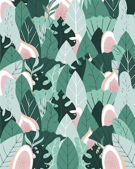 熱帯の手描きのベクトルアート自然はあなたの声のレタリングを必要とします果物と熱帯の緑の葉
