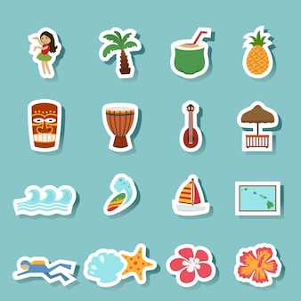 Tropical hawaii island and beach icons