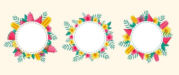 エキゾチックな花、果物、アイスクリーム、ヤシの葉が付いたトロピカルハワイアンラウンドフレーム。丸いフレーム。テンプレートデザイン。 sセット。