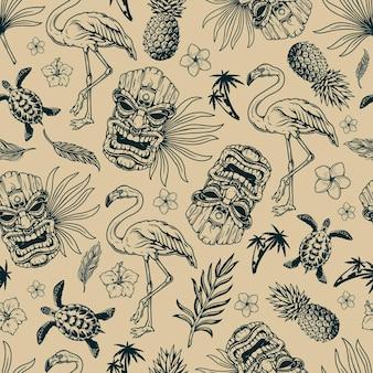 Tropical hawaiian vintage seamless pattern with flamingo birds and tiki masks