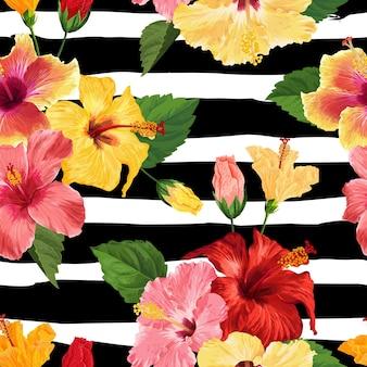 Тропический цветок гибискуса бесшовные модели. цветочный летний фон для ткани, текстиля, обоев, декора, оберточной бумаги. акварель ботанический дизайн. векторная иллюстрация