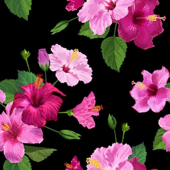 Tropical hibiscus flower seamless pattern