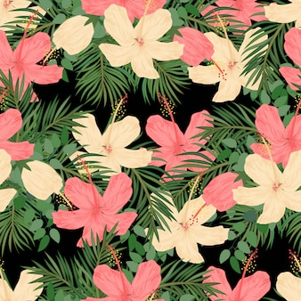 Tropical hibiscus and palm seamless pattern