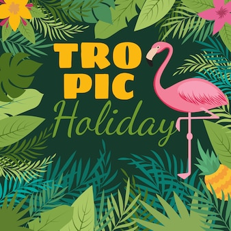 Tropical holiday  background with exotic flowers and pink flamingo