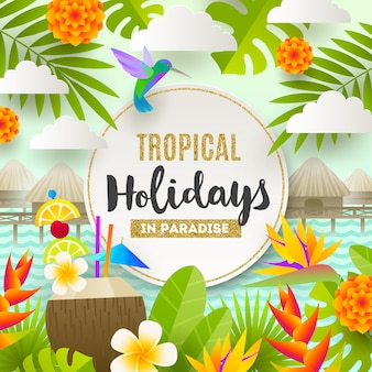 Tropical holidays and beach vacation illustration