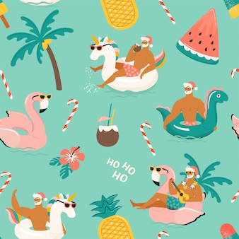 Tropical hot christmas. seamless pattern.