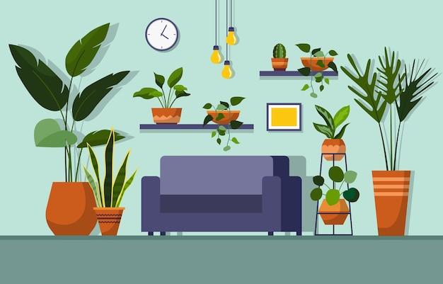 Тропическое комнатное растение зеленое декоративное растение в гостиной
