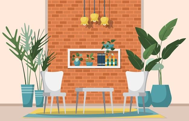 거실에 열대 관엽 식물 녹색 장식 식물
