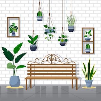 열대 관엽 식물 녹색 장식 식물 인테리어 하우스 일러스트레이션