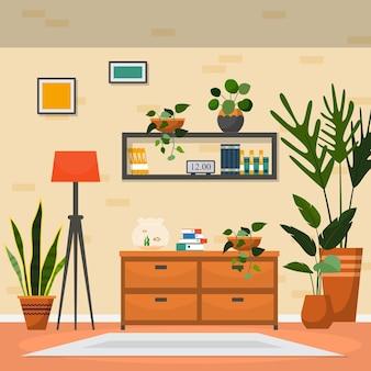 Тропическое комнатное растение зеленое декоративное растение интерьер дома иллюстрация