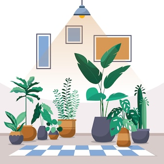 Tropical houseplant green decorative plant interior house illustration