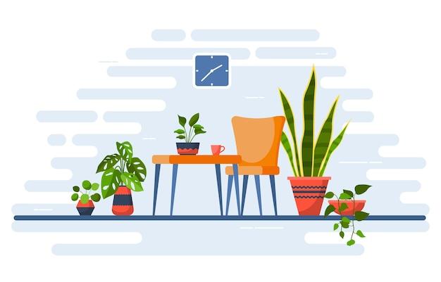 Тропические комнатные растения зеленые декоративные растения интерьер дома