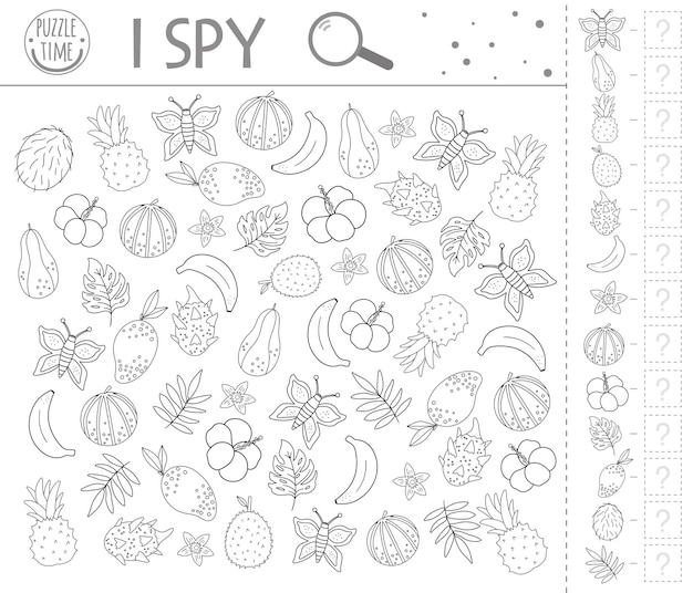 Tropical i spy game. exotic searching and counting activity for preschool children with cute elements. funny black and white jungle printable worksheet. logical quiz. fun coloring page for kids