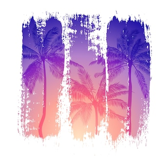 Tropical illustration of sunset and silhouettes of palm trees with colorful brush strokes