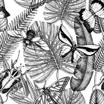 熱帯昆虫のシームレスなパターン。手描きの熱帯植物、ヤシの葉、昆虫の背景。ビンテージの昆虫学的背景。熱帯のヤシの葉と昆虫のジャングル。