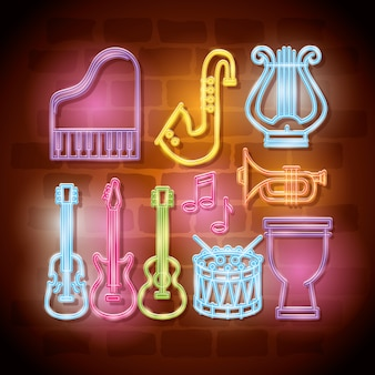 Tropical instruments neon labels