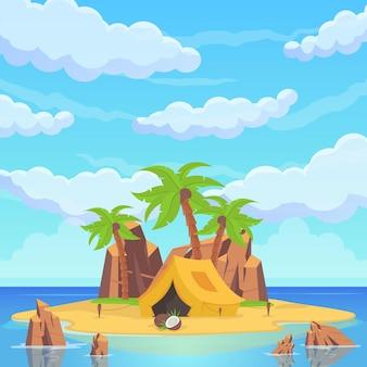 바다 중 열 대 섬입니다. 야자수, 모래 해변, 바위, 동상, 천막 및 의식의 집. 바다 해변 아름 다운 풍경입니다. 벡터 일러스트 레이 션