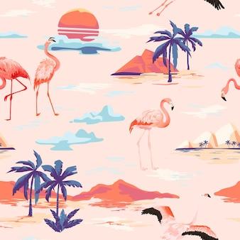 열대 섬과 플라밍고는 열대 야자수와 함께 매끄러운 벡터 여름 패턴입니다. 배경 화면, 웹 페이지, 질감, 섬유 빈티지 배경.