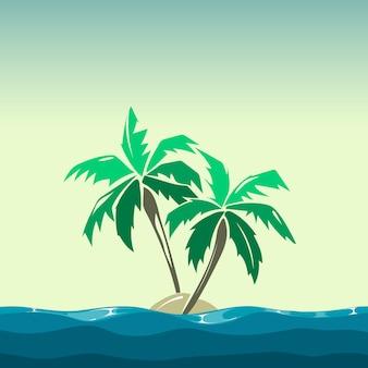 トロピカルアイランドとヤシの木のイラスト