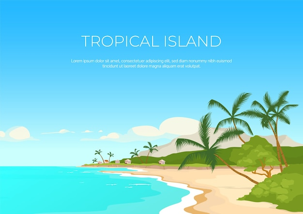Тропический остров баннер плоский шаблон. летний отдых. морской курорт. экзотический рай. брошюра, буклет на одну страницу концептуального дизайна с мультяшным ландшафтом. горизонтальный флаер экзотического отдыха, буклет