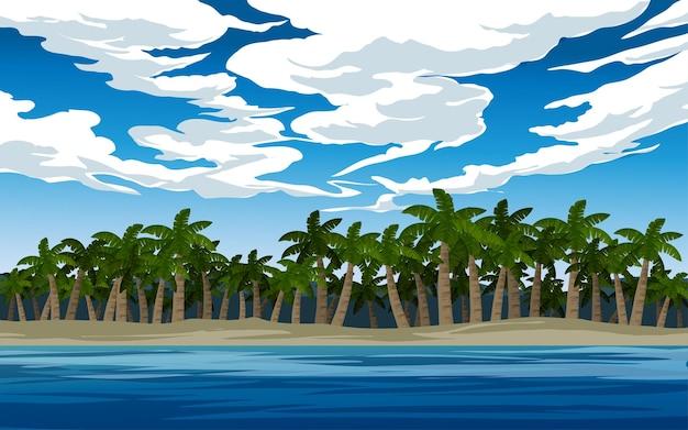 Тропический остров, пляж, спокойный пейзаж с пальмами Premium векторы