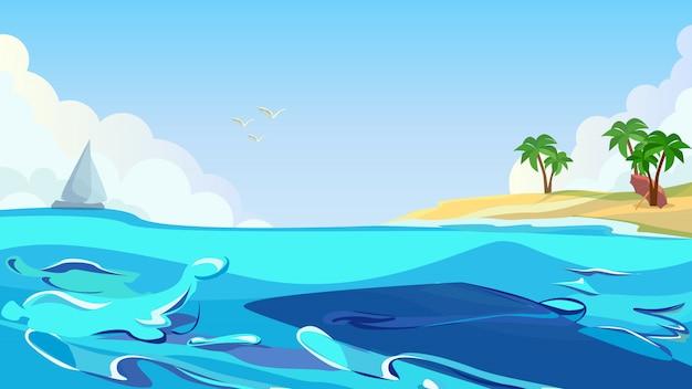 Tropical island coast palm beach seagull in sky
