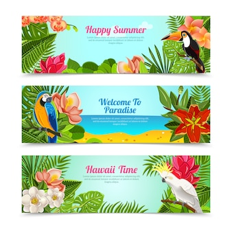 Tropical island flowers horizontal banners set