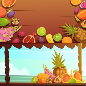 Tropical island fruit banners set