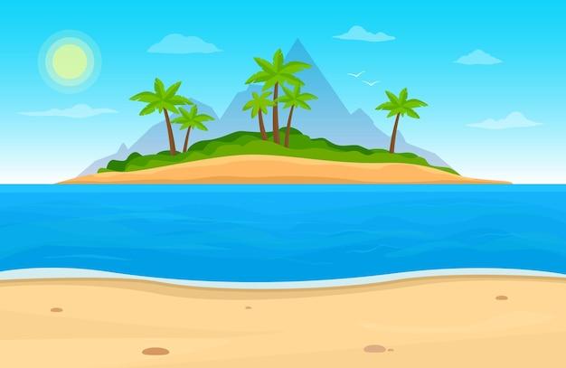 바다에있는 열 대 섬 바다와 풍경 야자수 해변