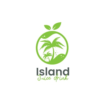 Tropical island juice drink logo template with palm tree and lime shape icon