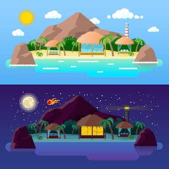 Tropical island landscape with mountains and bungalows on the beach at day and night.