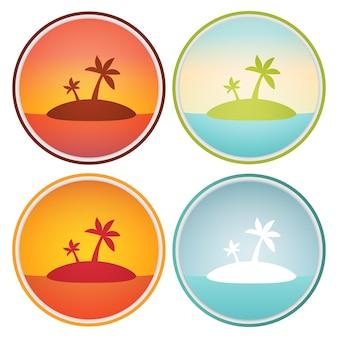 Тропический островной пейзаж с пальмами