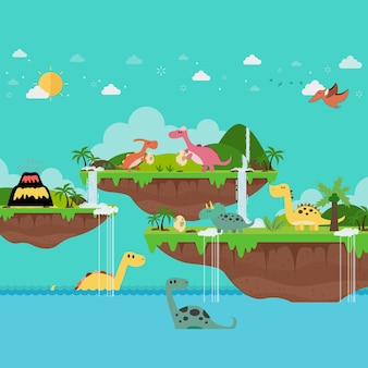 Tropical island and little dinosaur playing on the ancient world