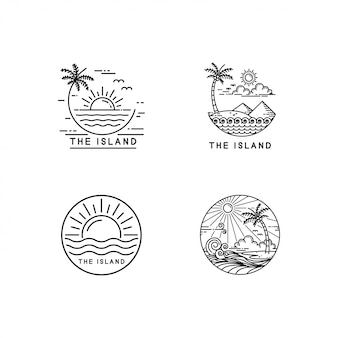 Tropical island logo set