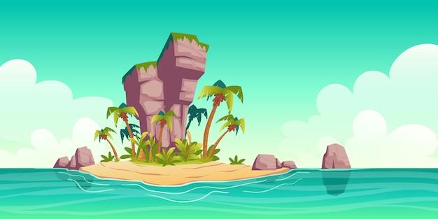 Isola tropicale nell'oceano con palme e roccia