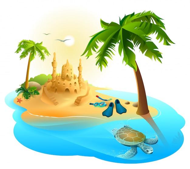 熱帯の島の楽園ビーチ。ヤシの木、砂の城、ひれ、ウミガメ