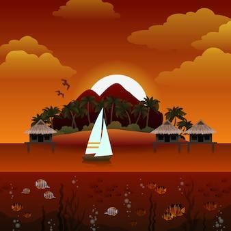 Tropical island sunset illustration